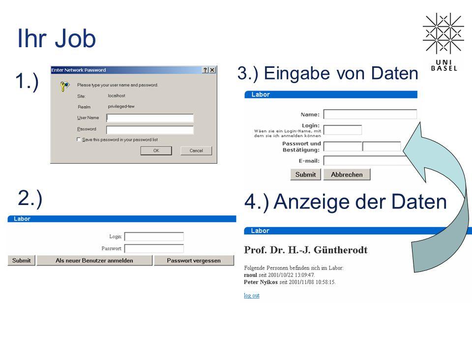 Ihr Job 1.) 3.) Eingabe von Daten 2.) 4.) Anzeige der Daten