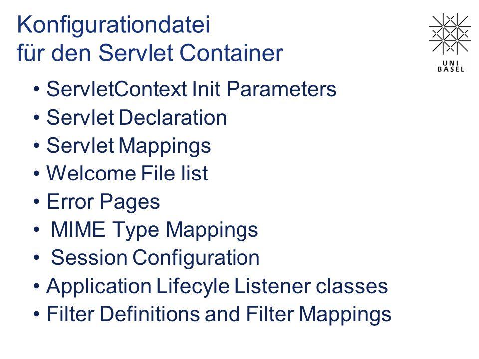 Konfigurationdatei für den Servlet Container