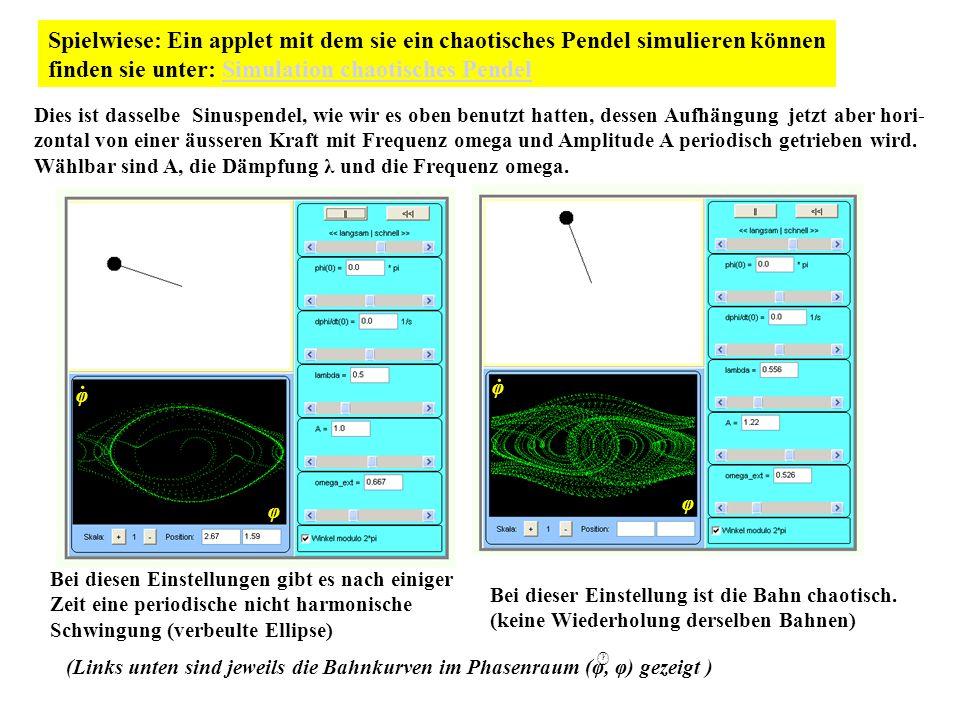 Spielwiese: Ein applet mit dem sie ein chaotisches Pendel simulieren können