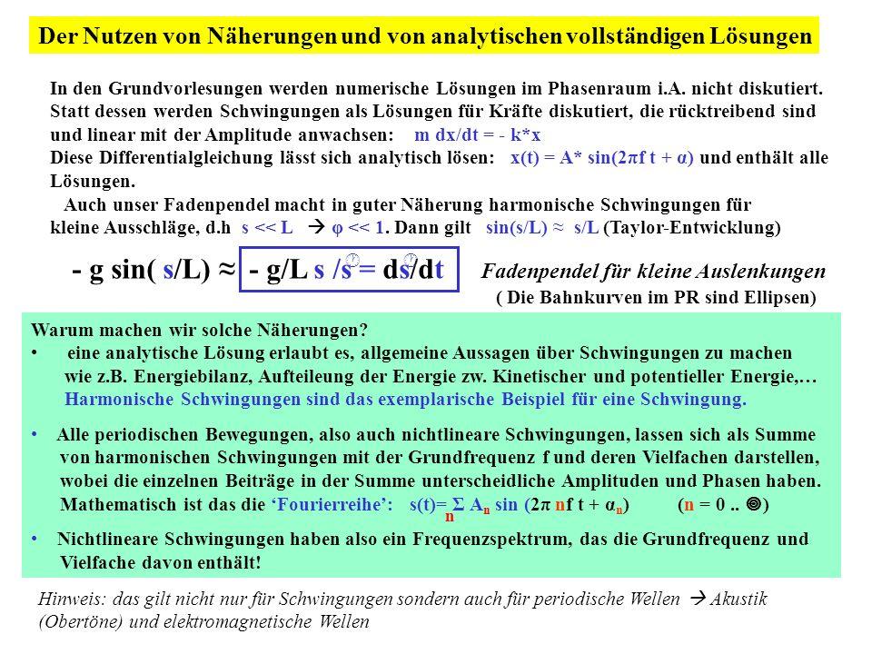 - g sin( s/L) ≈ - g/L s /s = ds/dt Fadenpendel für kleine Auslenkungen