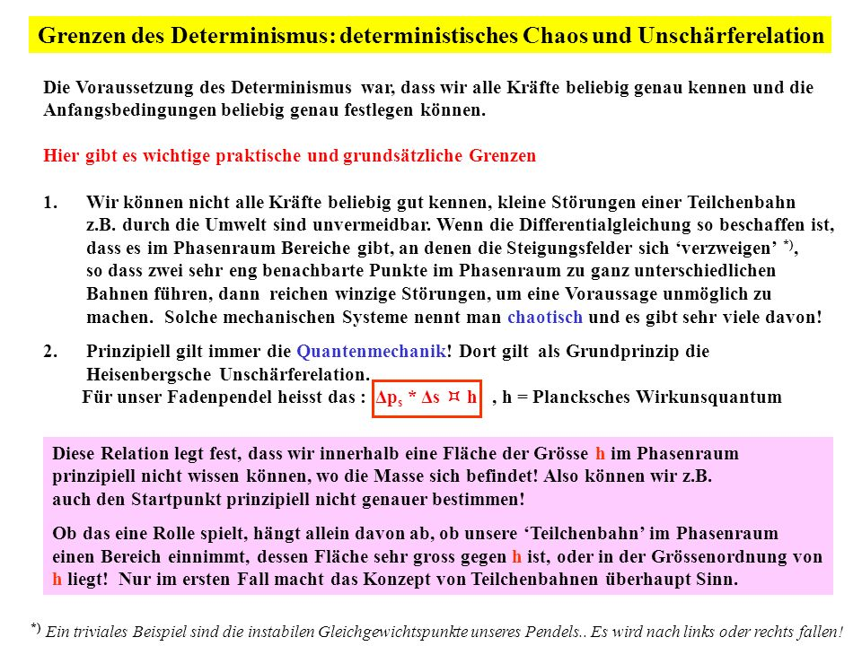 Grenzen des Determinismus: deterministisches Chaos und Unschärferelation