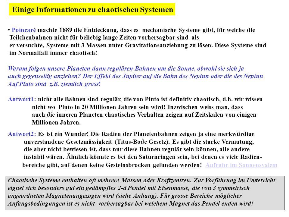 Einige Informationen zu chaotischen Systemen
