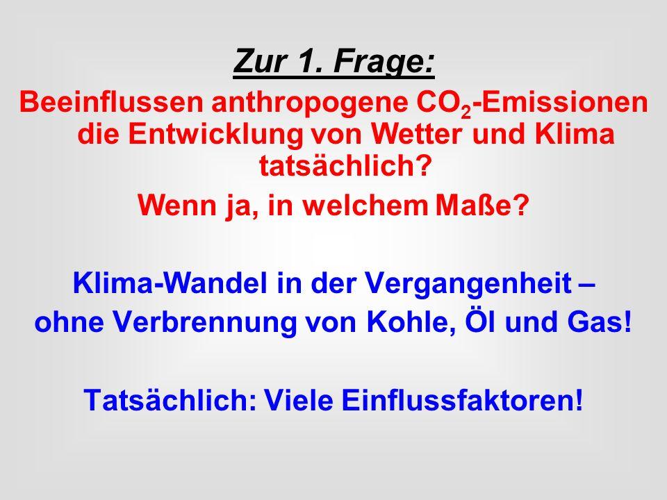 Zur 1. Frage: Beeinflussen anthropogene CO2-Emissionen die Entwicklung von Wetter und Klima tatsächlich