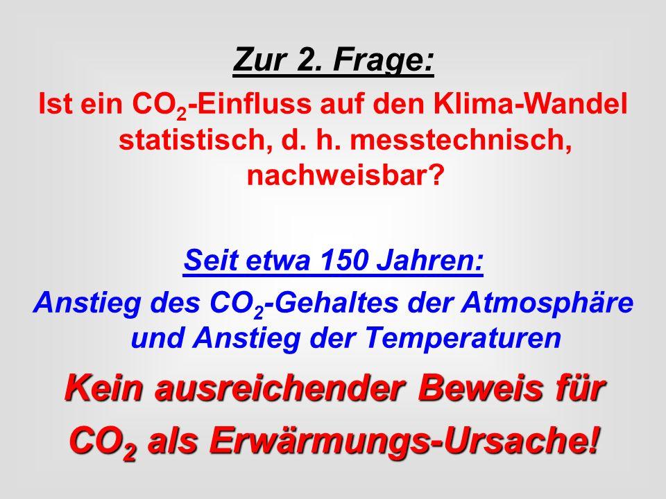 Kein ausreichender Beweis für CO2 als Erwärmungs-Ursache!