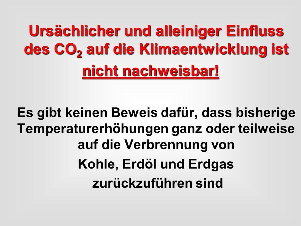 Ursächlicher und alleiniger Einfluss des CO2 auf die Klimaentwicklung ist