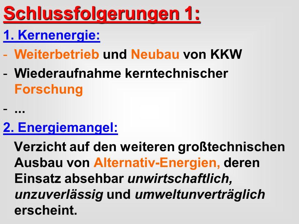 Schlussfolgerungen 1: 1. Kernenergie: Weiterbetrieb und Neubau von KKW