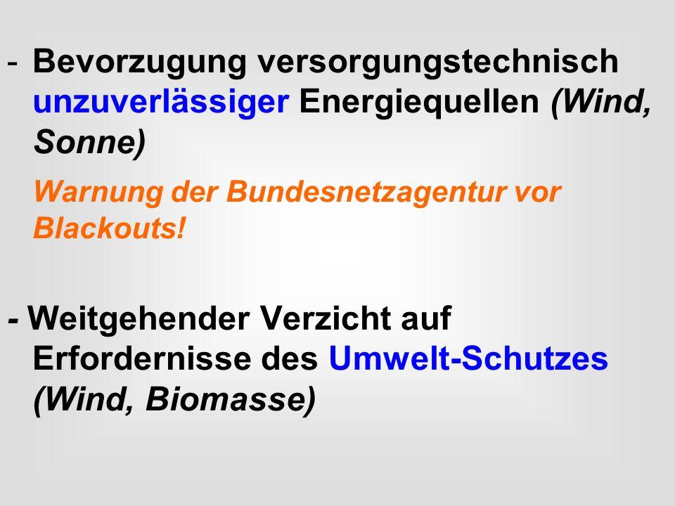 Bevorzugung versorgungstechnisch unzuverlässiger Energiequellen (Wind, Sonne)