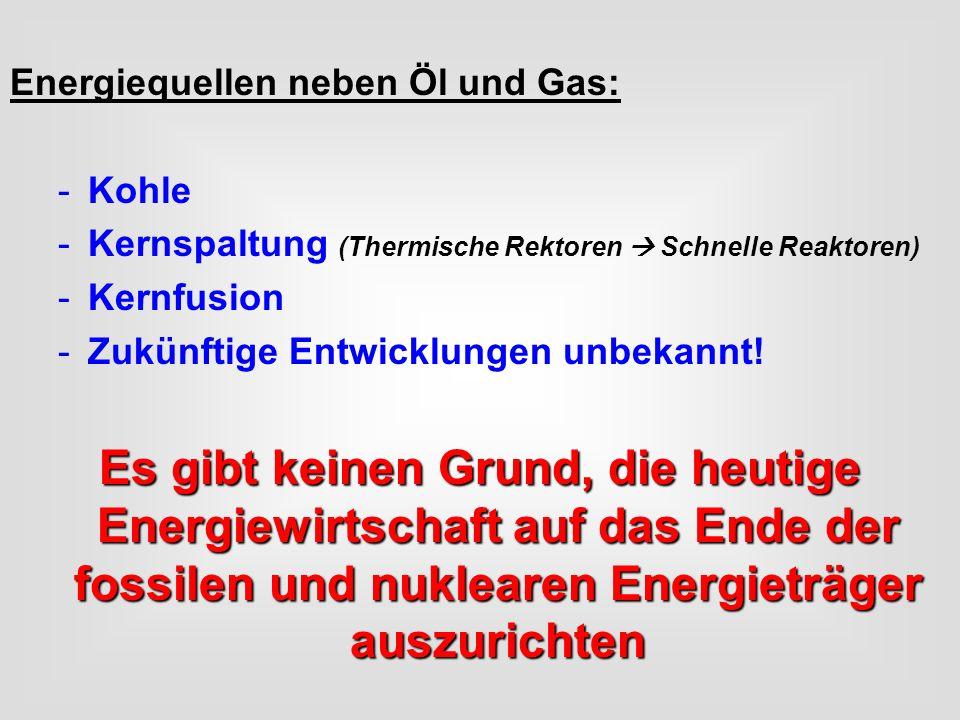 Energiequellen neben Öl und Gas: