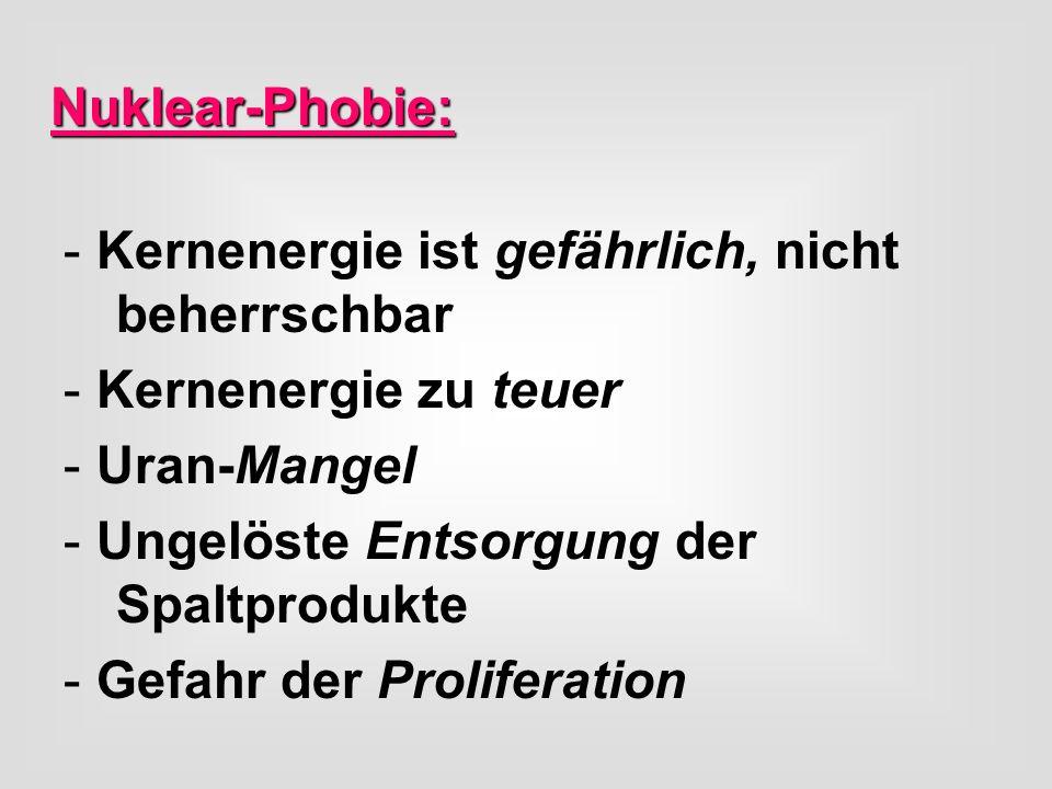 Nuklear-Phobie:Kernenergie ist gefährlich, nicht beherrschbar. Kernenergie zu teuer. Uran-Mangel.