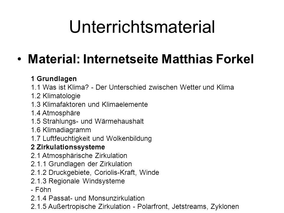Unterrichtsmaterial Material: Internetseite Matthias Forkel