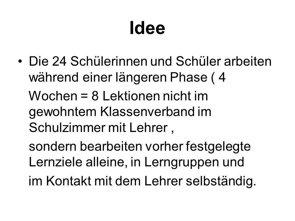 IdeeDie 24 Schülerinnen und Schüler arbeiten während einer längeren Phase ( 4.