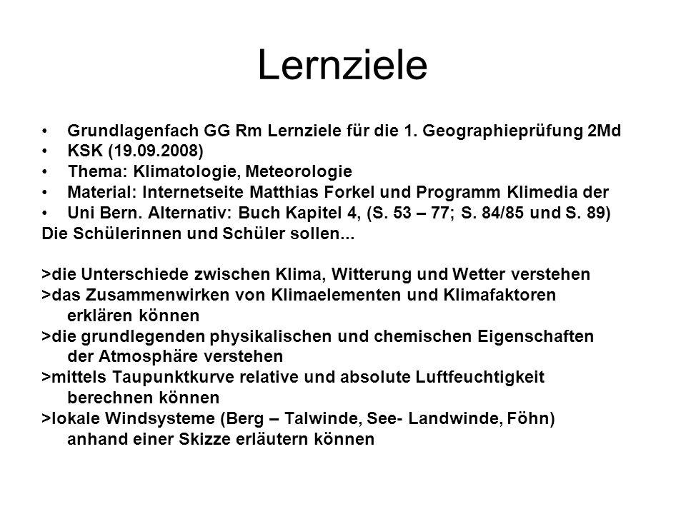 Lernziele Grundlagenfach GG Rm Lernziele für die 1. Geographieprüfung 2Md. KSK (19.09.2008) Thema: Klimatologie, Meteorologie.