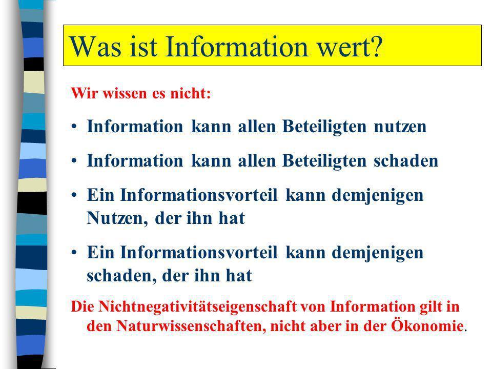 Was ist Information wert