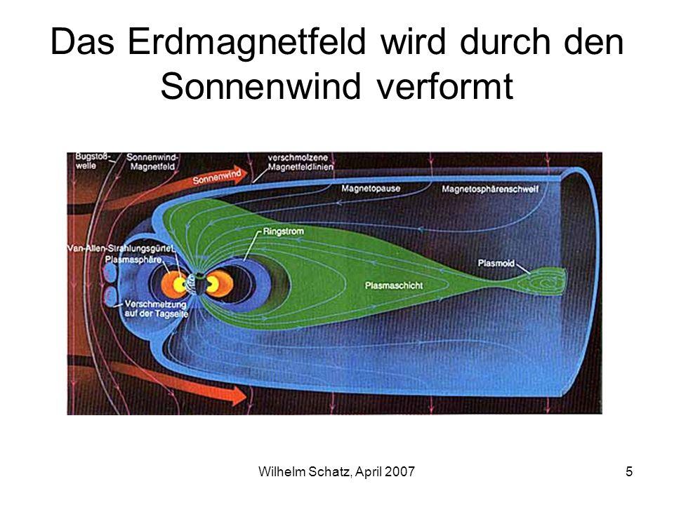 Das Erdmagnetfeld wird durch den Sonnenwind verformt