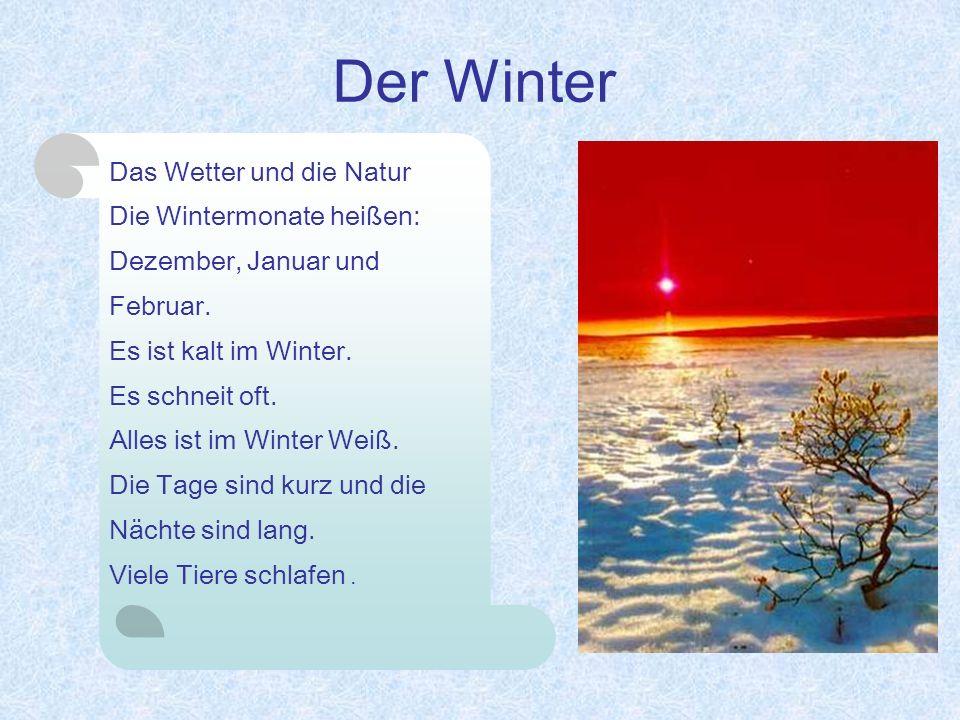 Der Winter Das Wetter und die Natur Die Wintermonate heißen: