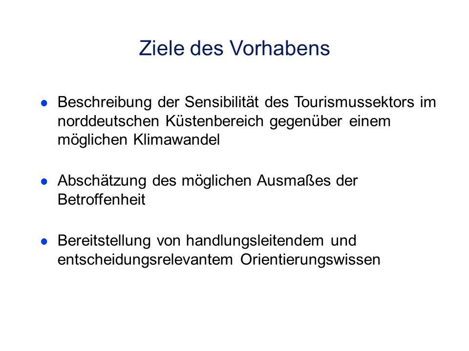 Ziele des Vorhabens Beschreibung der Sensibilität des Tourismussektors im norddeutschen Küstenbereich gegenüber einem möglichen Klimawandel.