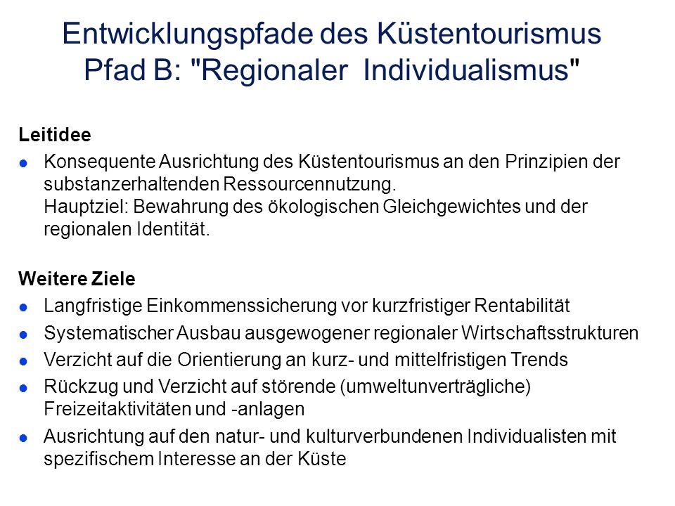Entwicklungspfade des Küstentourismus Pfad B: Regionaler Individualismus