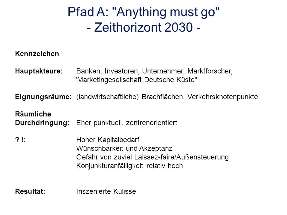 Pfad A: Anything must go - Zeithorizont 2030 -