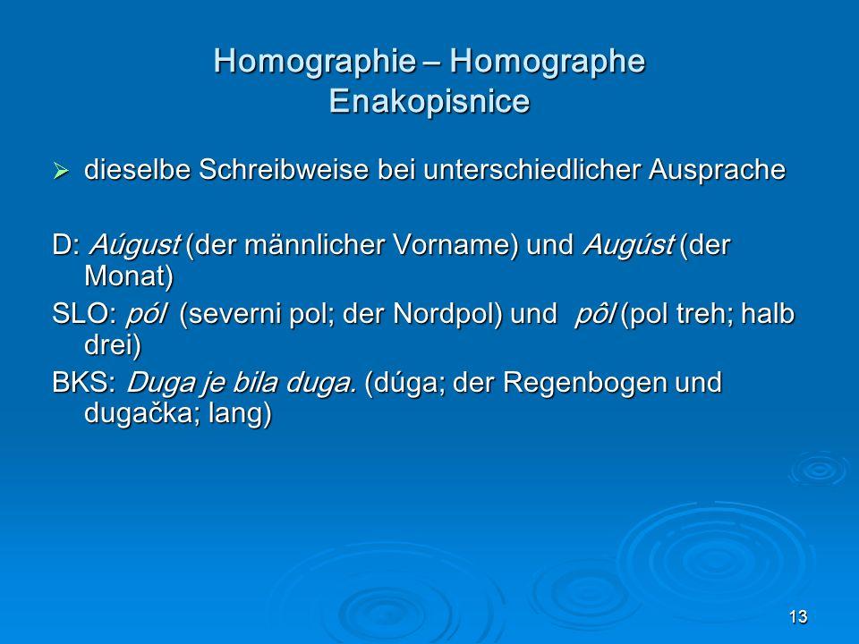 Homographie – Homographe Enakopisnice