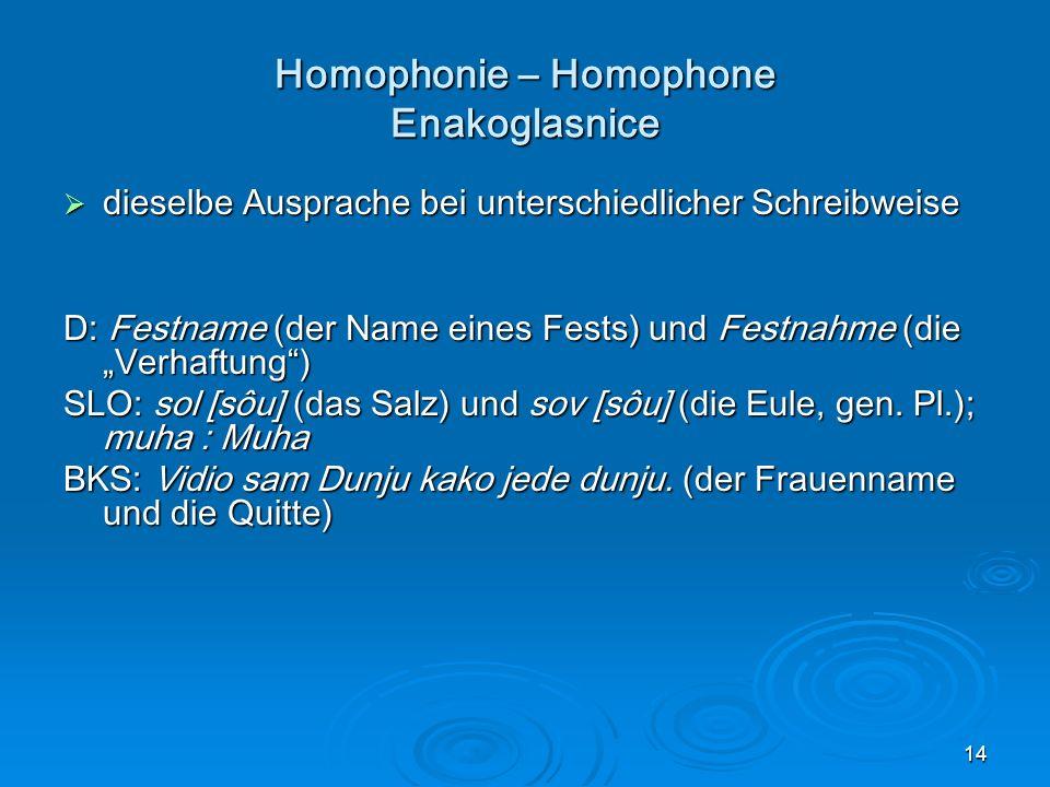 Homophonie – Homophone Enakoglasnice