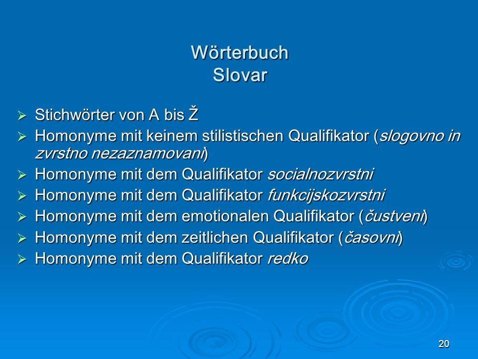 Wörterbuch Slovar Stichwörter von A bis Ž