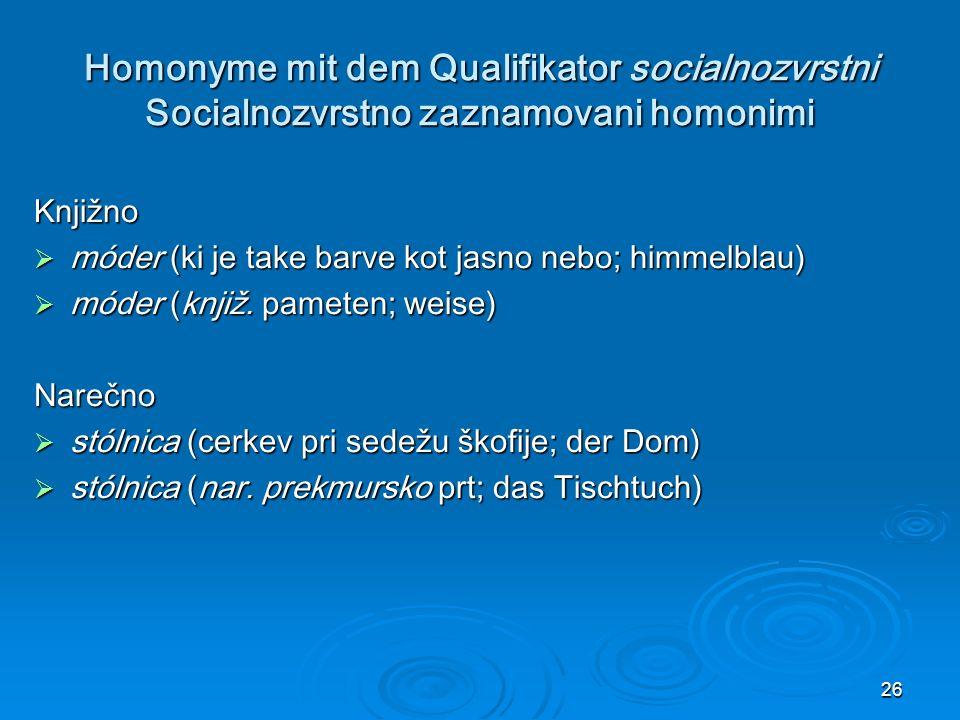 Homonyme mit dem Qualifikator socialnozvrstni Socialnozvrstno zaznamovani homonimi