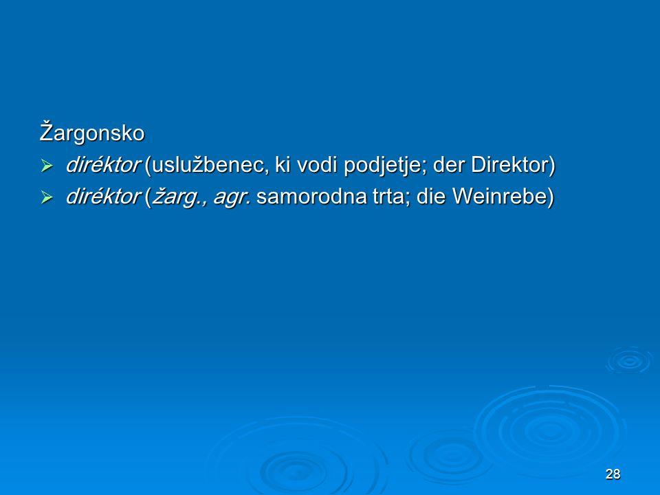 Žargonsko diréktor (uslužbenec, ki vodi podjetje; der Direktor) diréktor (žarg., agr.