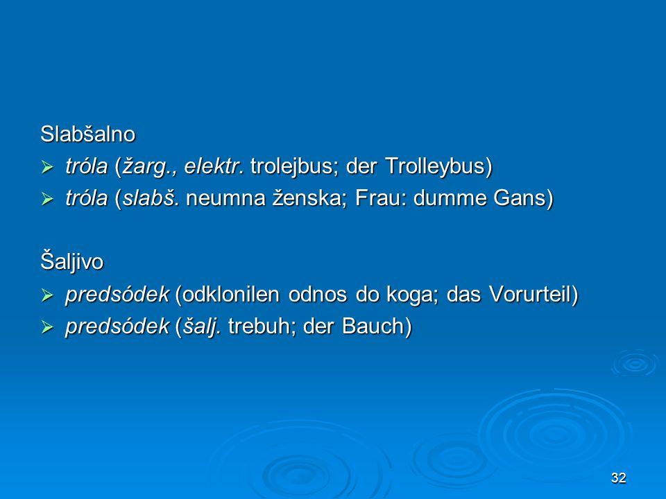 Slabšalno tróla (žarg., elektr. trolejbus; der Trolleybus) tróla (slabš. neumna ženska; Frau: dumme Gans)