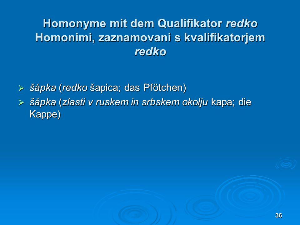 Homonyme mit dem Qualifikator redko Homonimi, zaznamovani s kvalifikatorjem redko