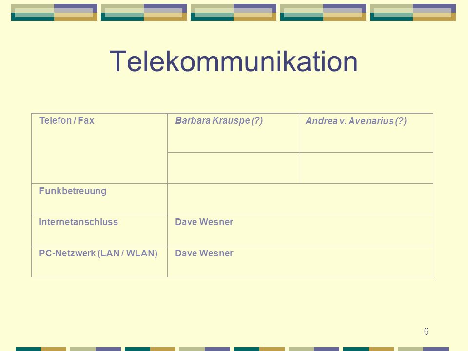 Telekommunikation Telefon / Fax Barbara Krauspe ( ) Funkbetreuung