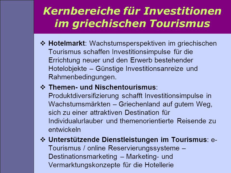 Kernbereiche für Investitionen im griechischen Tourismus