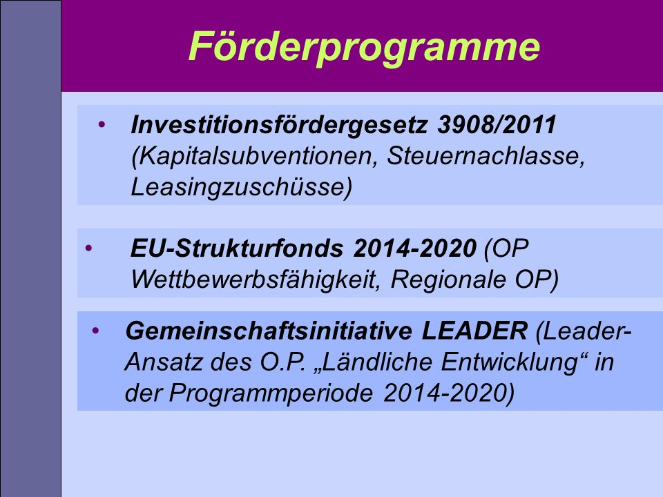 Förderprogramme Investitionsfördergesetz 3908/2011 (Kapitalsubventionen, Steuernachlasse, Leasingzuschüsse)