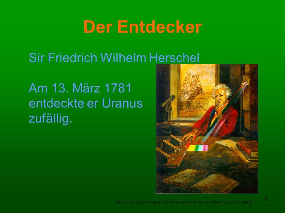 Der Entdecker Sir Friedrich Wilhelm Herschel Am 13. März 1781