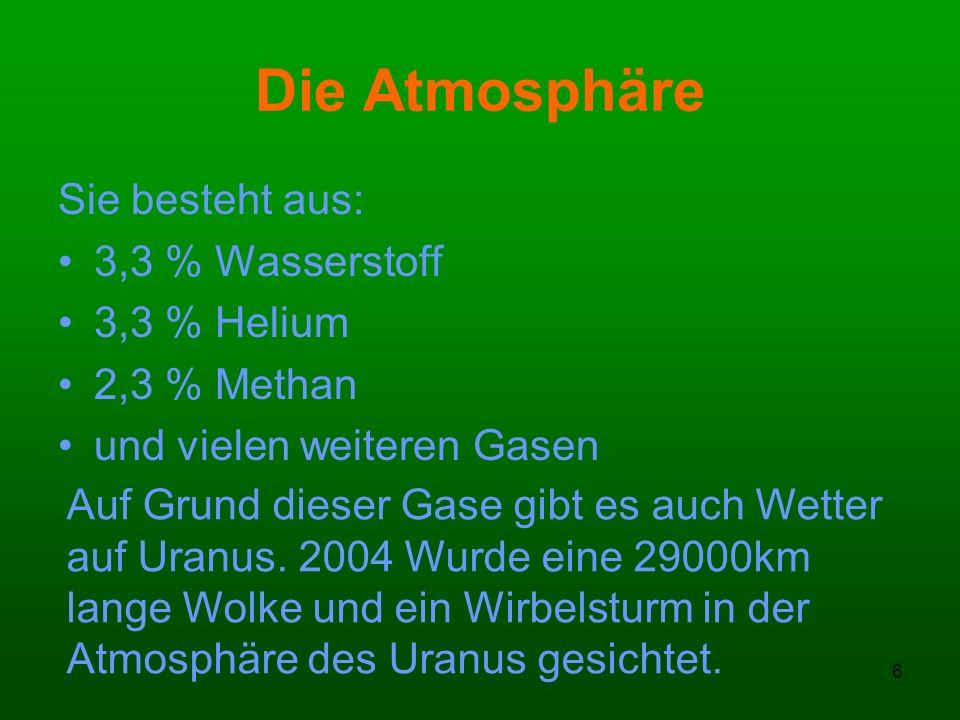 Die Atmosphäre Sie besteht aus: 3,3 % Wasserstoff 3,3 % Helium