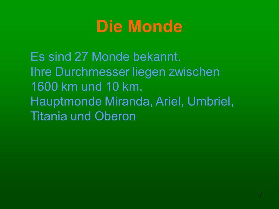 Die Monde Es sind 27 Monde bekannt. Ihre Durchmesser liegen zwischen
