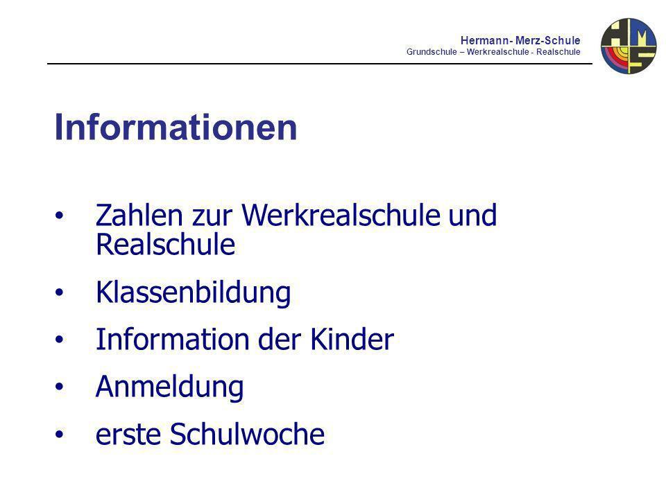Informationen Zahlen zur Werkrealschule und Realschule Klassenbildung