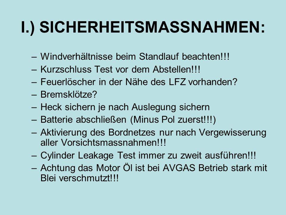 I.) SICHERHEITSMASSNAHMEN: