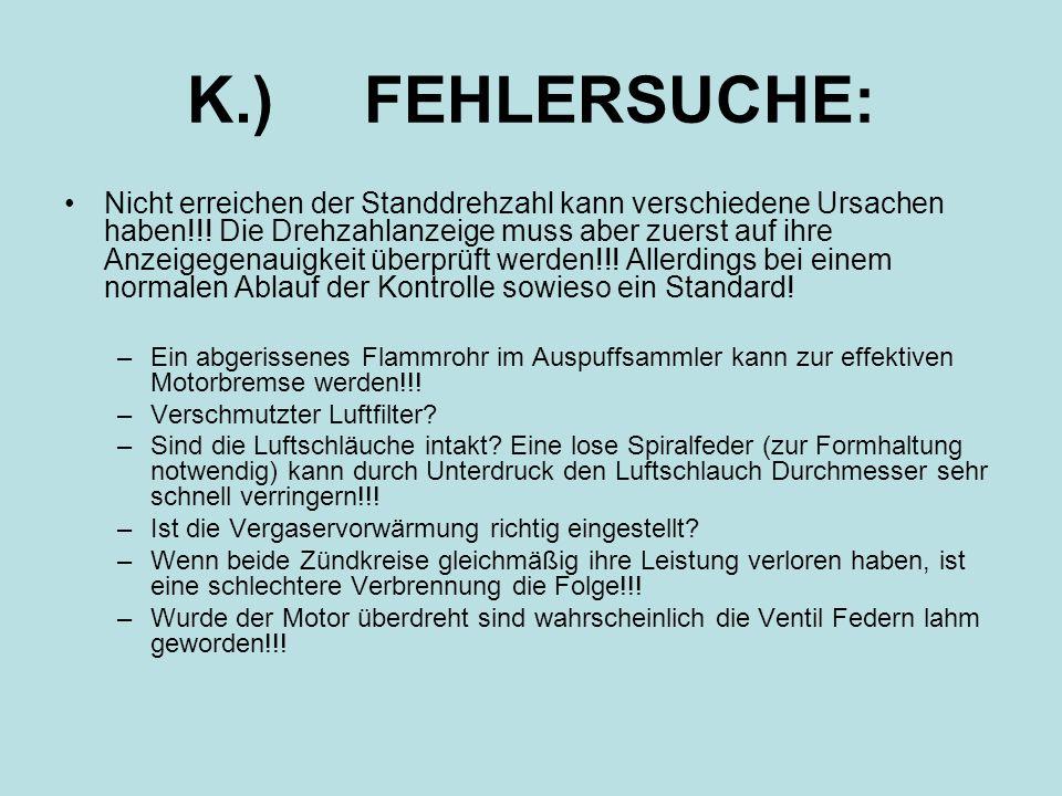 K.) FEHLERSUCHE: