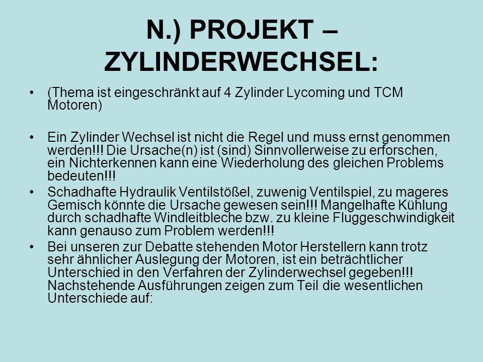 N.) PROJEKT – ZYLINDERWECHSEL:
