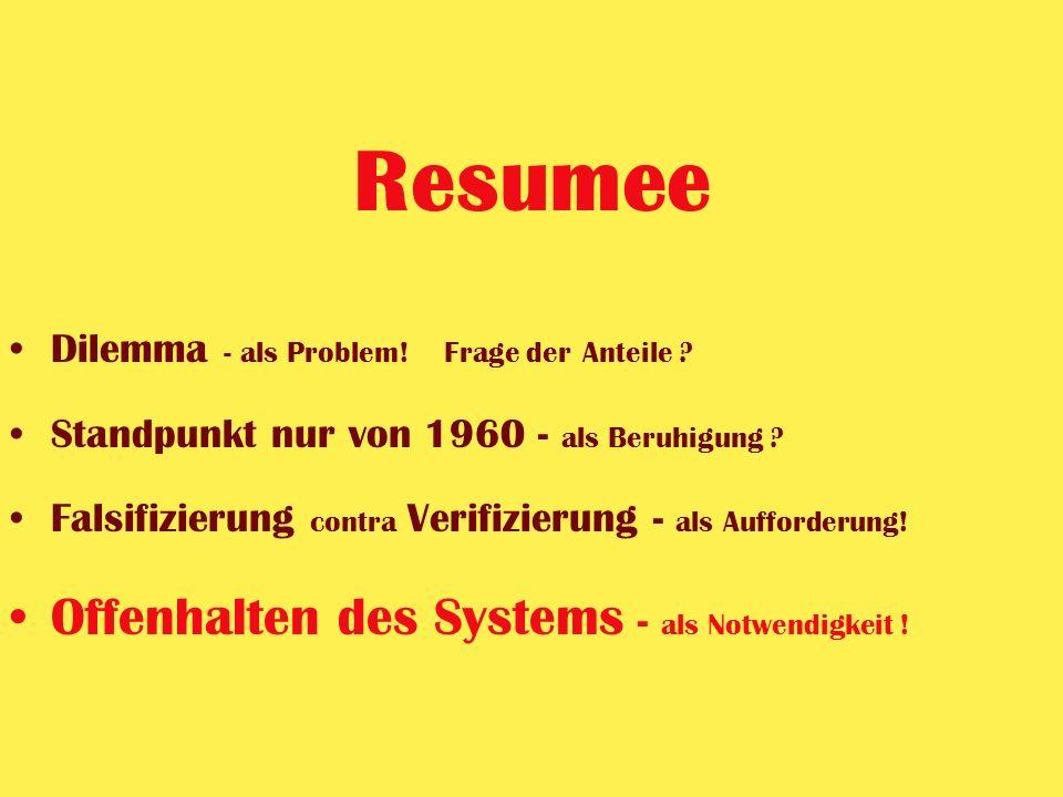 Resumee Offenhalten des Systems - als Notwendigkeit !