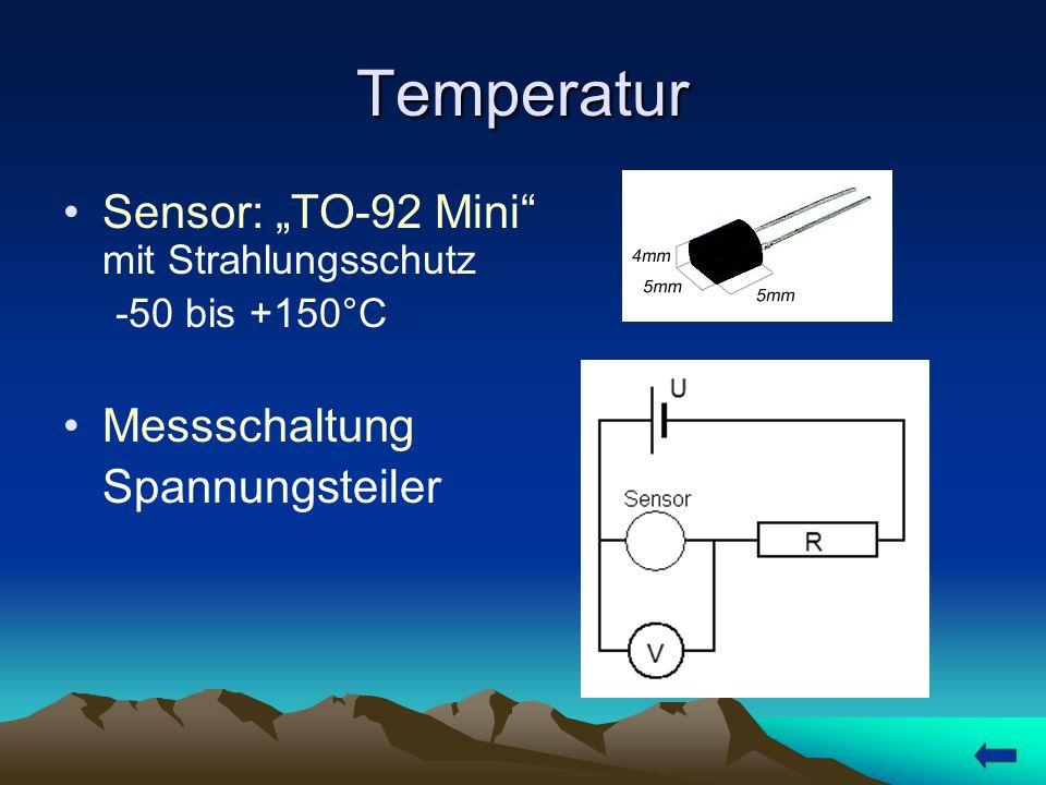 """Temperatur Sensor: """"TO-92 Mini mit Strahlungsschutz Messschaltung"""