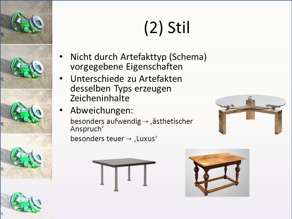 (2) Stil Nicht durch Artefakttyp (Schema) vorgegebene Eigenschaften
