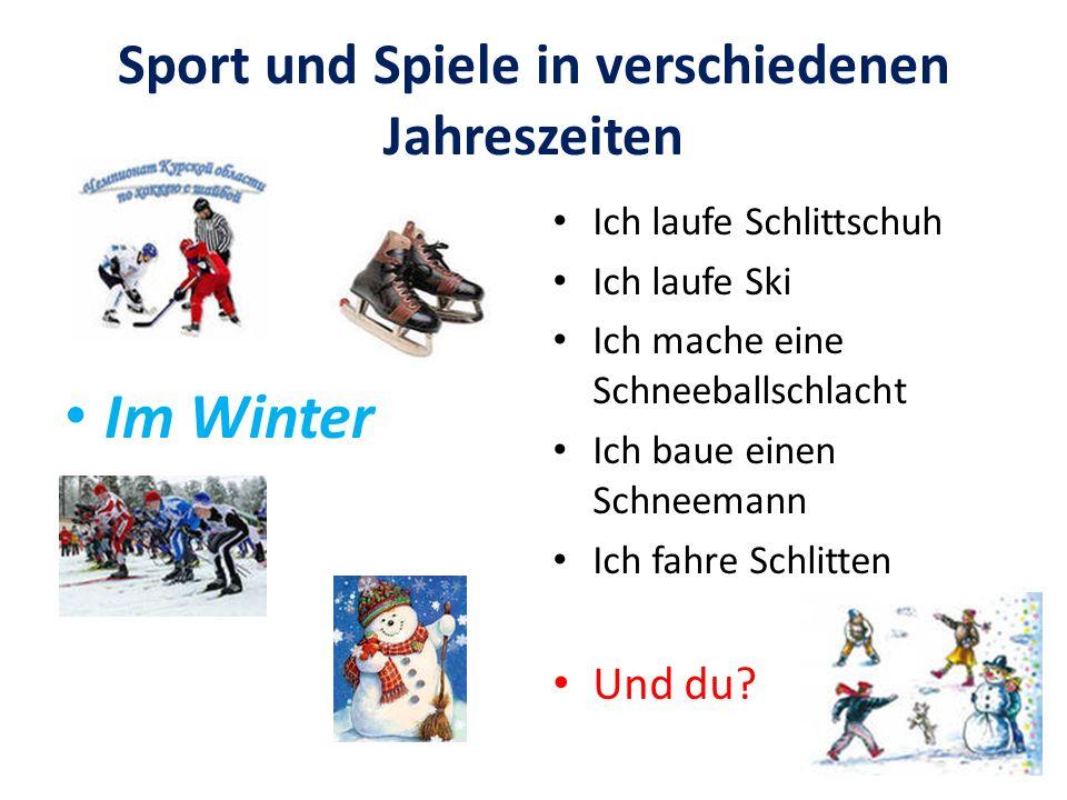 Sport und Spiele in verschiedenen Jahreszeiten