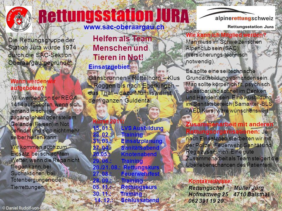 Rettungsstation JURA Helfen als Team Menschen und Tieren in Not!
