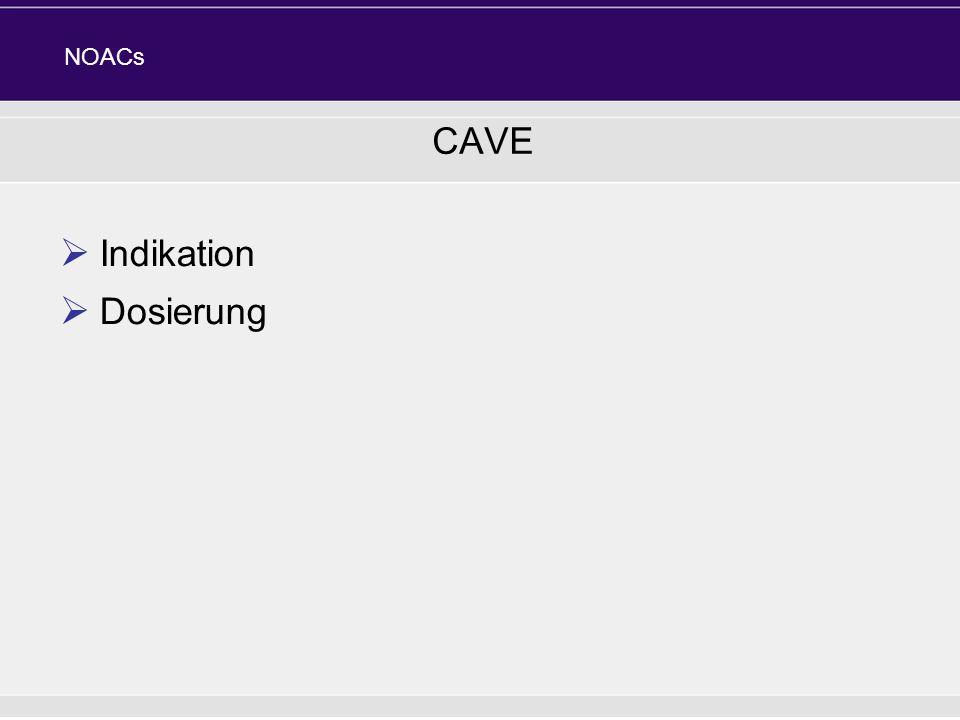 CAVE Indikation Dosierung NOACs