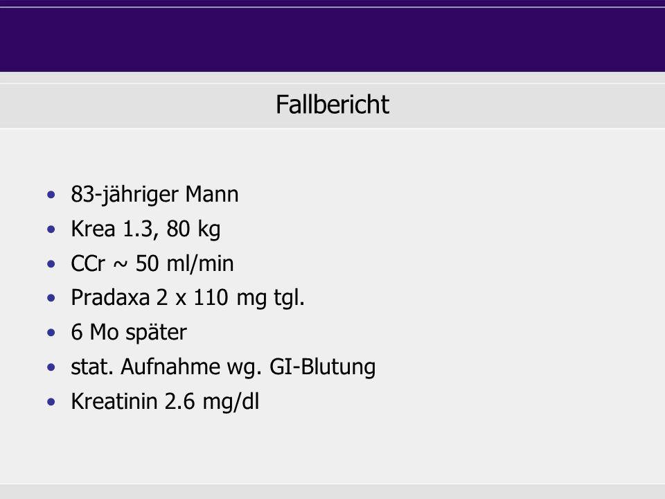 Fallbericht 83-jähriger Mann Krea 1.3, 80 kg CCr ~ 50 ml/min
