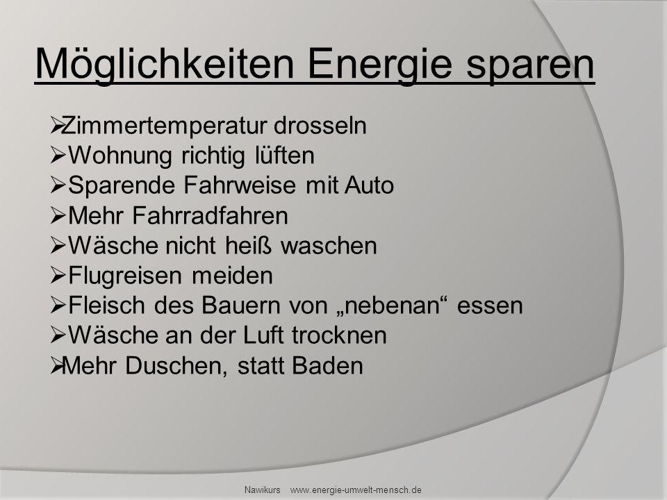 Möglichkeiten Energie sparen