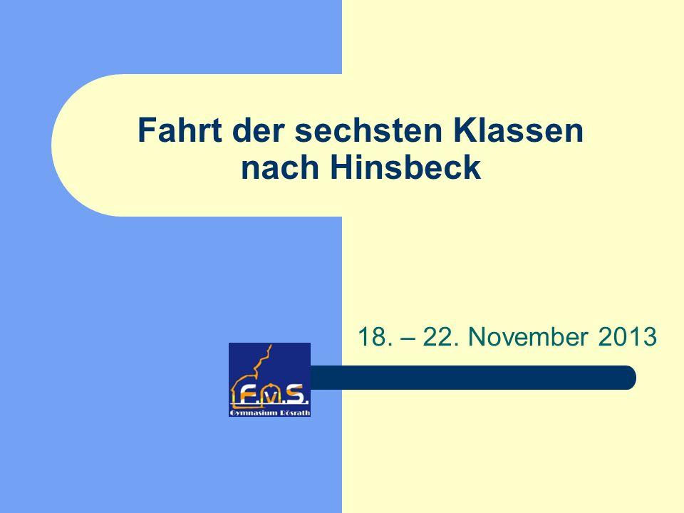 Fahrt der sechsten Klassen nach Hinsbeck