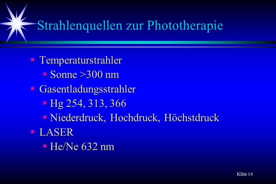 Strahlenquellen zur Phototherapie
