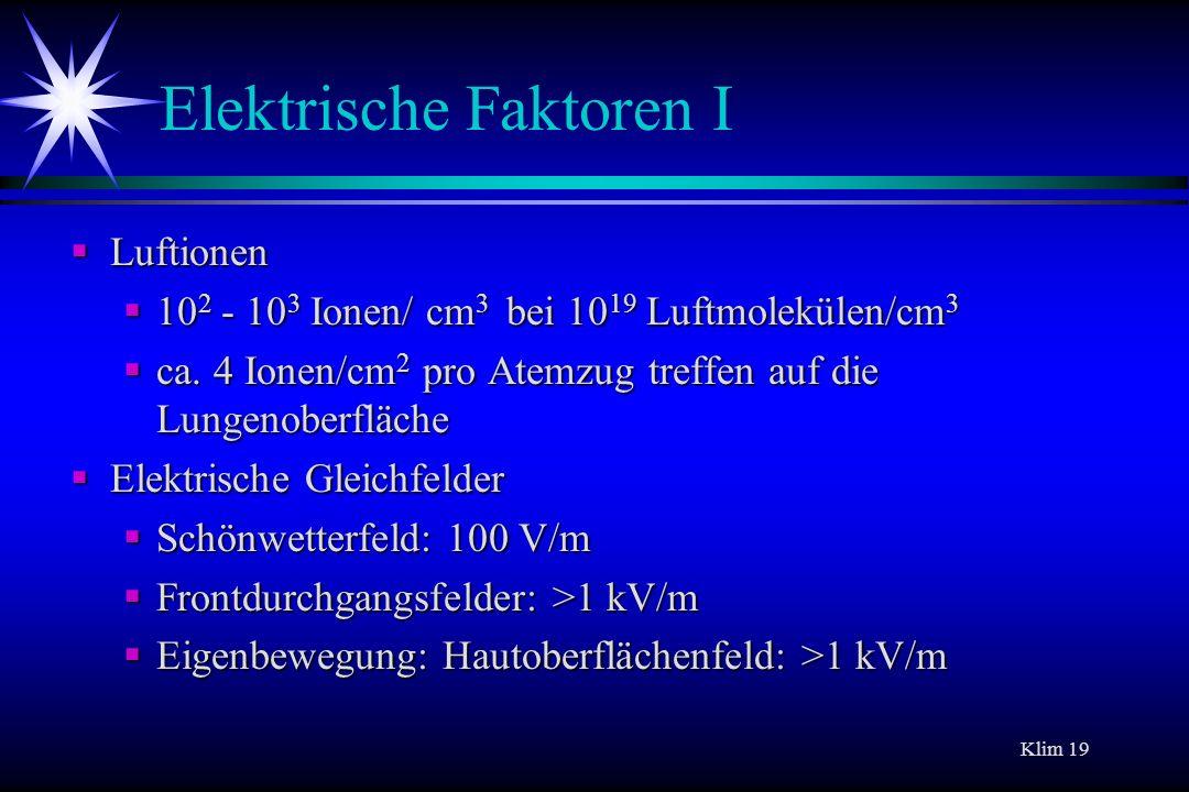 Elektrische Faktoren I